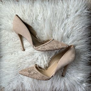 Leather upper nude lace heels BCBGeneration